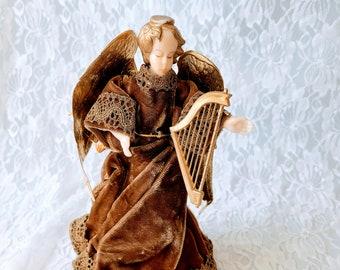 Rare! Vintage German Wax Angel Christmas Tree Topper Table Decor ~  Christmas Retro Figurine Decoration Holidays ~ Wax Angel