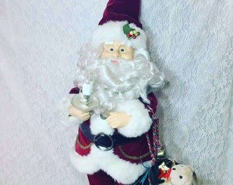 "Vintage Kitschy Christmas 34"" Santa MUSICAL, Animated, Holding Candle Shaped Light~ Holiday Décor ~ Retro  Christmas ~ Holiday Decoration"