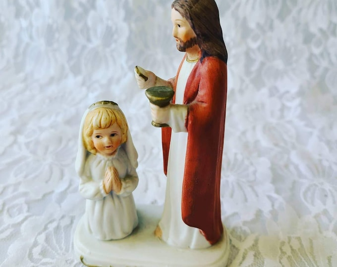 Adorable Unmarked First Communion Jesus and Girl Figurine