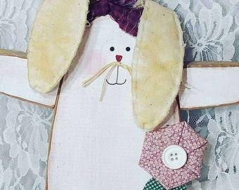 """Easter Decorations Wooden Tole Painted 10"""" Handmade Primitive Shabby Bunny with Fabric Ears ~ Hanging Wood Ornament ~ OOAK Art"""