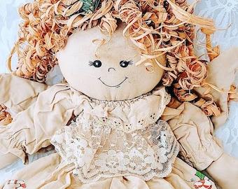 Primitive Handmade Christmas Angel Dolly with Raffia Hair ~ 1990s Vintage ~ Rustic Holiday Décor Christmas Decoration ~ Shelf Sitter