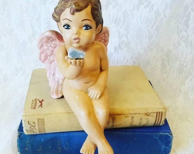 Handmade Hand Painted OOAK Porcelain Angel Cherub Figurine Holding Celestite Crystal ~ Artist Made