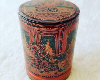 Antique Indo Persian Kashmir Paper Mache Rattan Lacquer Trinket Box  ~ Intricate Hand Painted Cylinder Design ~ RARE Great Condition