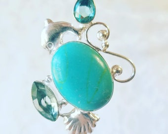 OOAK Dolphin Sterling Silver Pendant with Aquamarine and Swiss Blue Topaz Accents ~ Marked 925