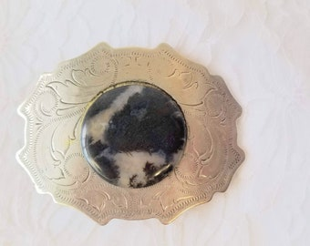 Clearance! Vintage Etched Silver Moss Agate Belt Buckle 1970s ~ Nickel Silver ~ Cowboy Cowgirl Belt Buckle
