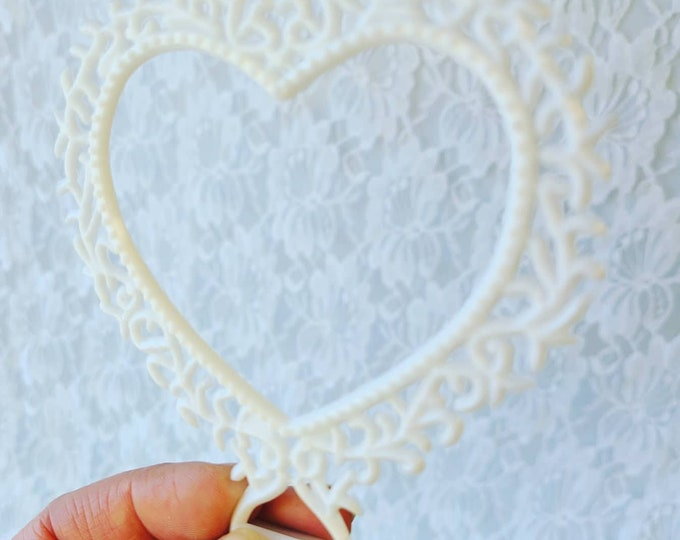 """Set of 10 Vintage 1950s Celluloid Cake Toppers ~ 5"""" X 5"""" HEARTS ~ Choose White or Beige ~ Bridal Shower, Anniversary Vintage Wedding"""
