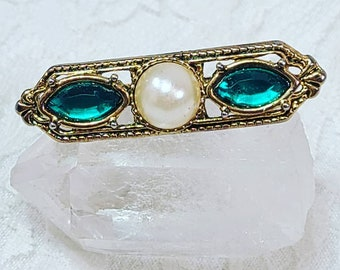 Vintage Edwardian Style Victorian Revival Bar Brooch ~ Gold Tone Rhinestone Cut Glass Brooch with Pearl Accent