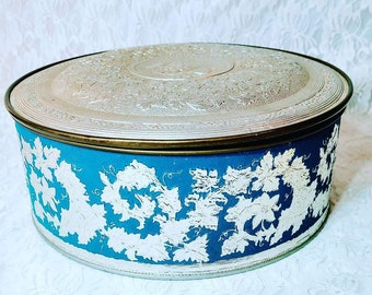 RARE Biscuit Tin ~ Vintage Embossed Tin Container Round ~ Lagendorf Royal Fruit Cake Tin ~ Unique Trinket Box ~ Domed Lid