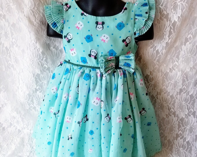 Disney Tsum Tsum Dress for Toddler Child or Large Doll ~ Size 2T ~ Chiffon Overlay ~ Cute!