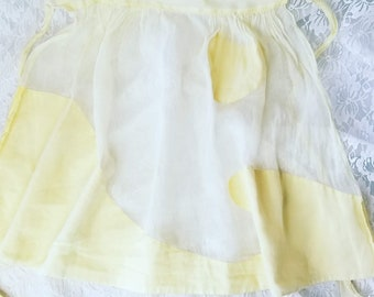 Vintage Sheer Apron 1950s Yellow with a Heart on Front Wave Design ~ Fits up to a 1X