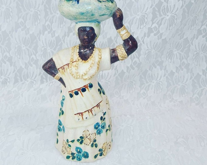 Ceramic Woman Taper Candle Holder ~ Wiccan Supply ~ Altar Decor ~ Made in Brazil ~ Sold As-Is, Repaired