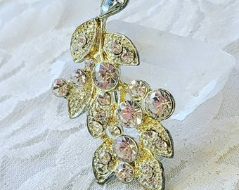 Antique Silvertone 1950s Curvy Clear Cut Glass Rhinestone Brooch ~ Silver Paste Brooch ~ Vintage Rhinestone Pin