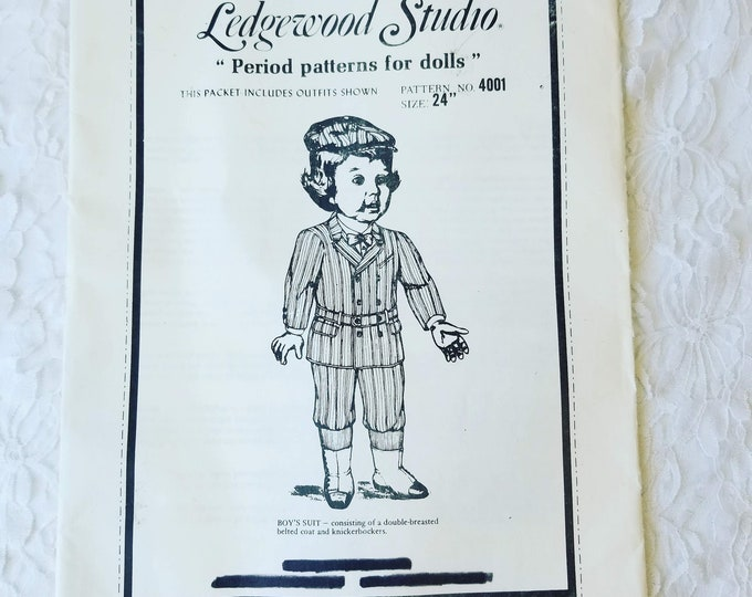 "Boys Suit Doll Pattern #4001 Double-Breasted Belted Suit and Knickerbockers ~ Uncut Dress Pattern & Instruction for 24"" Boy Doll"