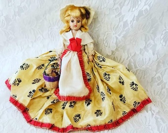 """Antique British 8"""" Doll Mohair Sleepy Eyes Satin Dress Molded Shoes Dress Me Doll 1950s Dolls of the World? Duchess? Sold As-Is"""