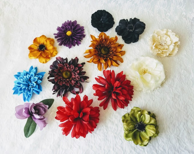 Choose One! Handmade Rockabilly Hair Flower Barrette ~ Pin Up Girl Fashion ~ Big Flowers for Your Hair ~ Silk Flower Hair Clips