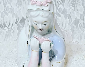 Vintage Porcelain Madonna Virgin Mary Statue Figurine ~ Holy Mother Holding Flower w/ Floral Crown ~ Catholic ~ Christian ~ Religious Decor
