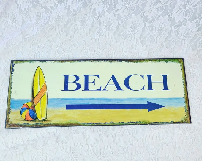 """Hanging Metal BEACH Sign ~ Pointing To The BEACH ~ Hand Painted Shabby Chic Steel  BEACH Sign w/ Surfboard ~ 15.5"""" Long by 6"""" Tall"""