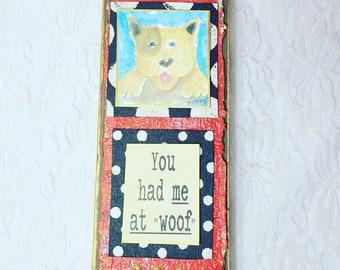 Wow! A SIGNED V. Originals Atlanta Mixed Media Print on Wood by Famed Atlanta Artist ~ Wall Handing Art for DOG LOVERS