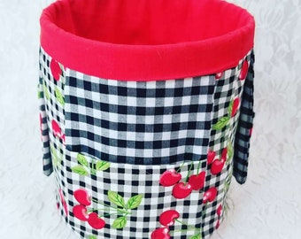 Handmade Craft Organizer ~ Repurposed Coffee Can Caddie with Hand-Sewn Fabric Organizer Pockets ~ Cherry Gingham