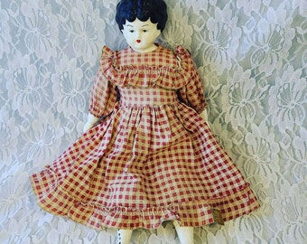 """Large 14"""" Vintage Antique ORIGINAL Mark Farmer China Head Porcelain and Cloth Body Doll ~ Great Condition"""