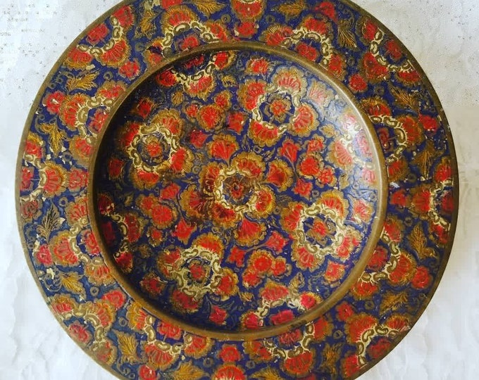 """Antique Brass Enamel Pedestal Plate Tray ~ For Altar or Crystal Display ~ 7"""" wide 1.25"""" Tall ~ Perfect for Candies, Serving, or Display"""