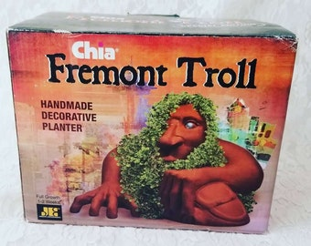 Vintage 1990s Fremont Troll Seattle Chia Pet UNUSED New In Box ~ Retro Kitsch ~ Vintage