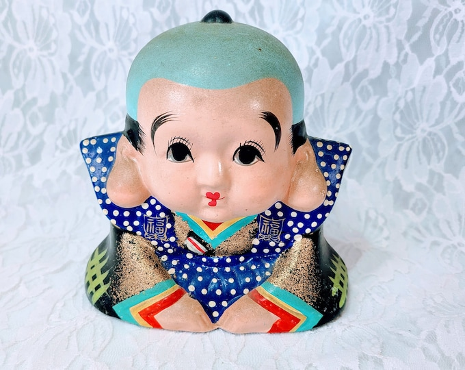 RARE! 1960-70s Chalkware Chinese Boy Figure Figurine Collectible ~ Rare Collectible!