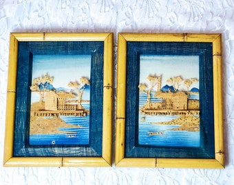 Set of Two (2) Antique Vintage Chinese Carved Cork Pagoda Tress Landscape Diorama Silk Framed