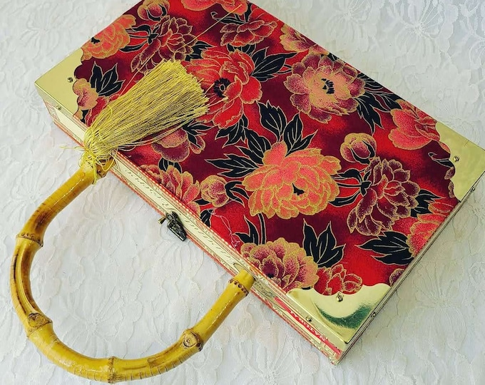 Vintage Retro Cigar Box Purse ~ Mirror Inside! ~ Bamboo Handle ~ Clutch ~ Lush Red Velvet Lined