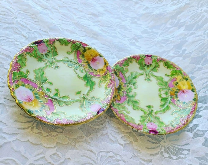 Set of 2 Hand Painted Mid Century Porcelain Cloisonne Saucers  ~ Hand Painted ~ Beautiful