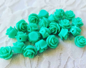 Vintage Lot of 23 Vintage 1960s Plastic Lucite? TEAL Rose Flower Beads ~ Jewelry Making ~ Side Drilled