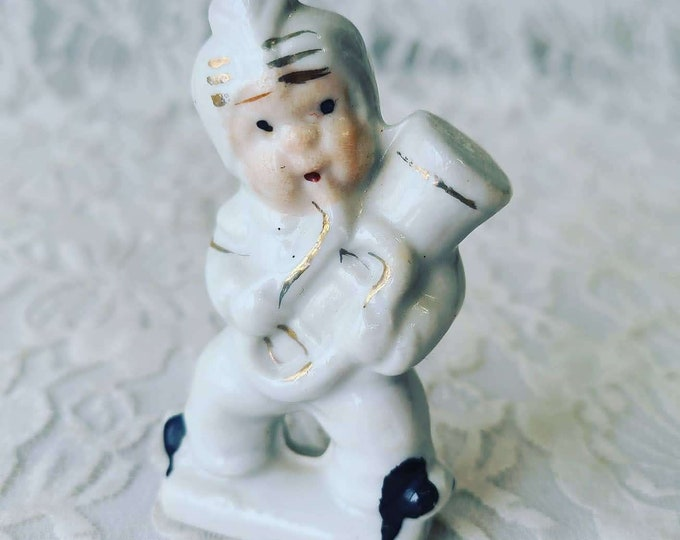Vintage 1950 Japan Porcelain Saxophone Playing Figurine ~ Marked Made In Japan ~ Relco?