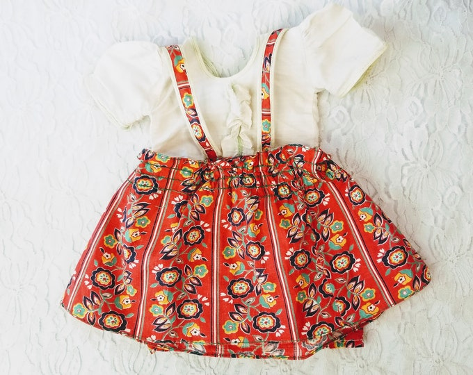 """Factory Made 1940s Doll Jumper and Skirt 17-22"""" Antique Composition Doll ~ Adorable Vintage Fabric ~ Not Tagged"""
