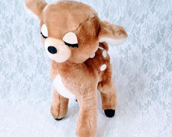 Super RARE 1970s Vintage Stuffed Deer ~ Christmas Deer ~ Dakin Deer ~ Made in Japan ~ Dakin Nature Babies