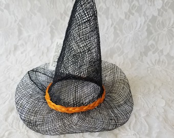 """Witches Hats ~ NEW with TAGs ~ Miniature Natural Sinamay Witch Hats with Orange Band 7"""" ~ Made by Darice ~ Halloween Crafts"""