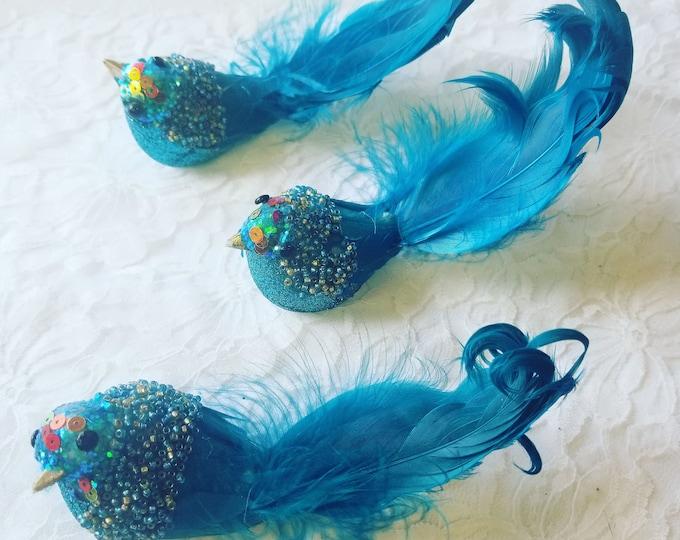 Set of Three (3) Turquoise Feather Beaded Bird Ornaments ~ Craft Supplies ~ Christmas Decor ~ Design ~ Blue Bird Ornament