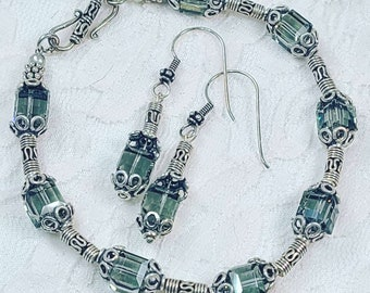 OOAK Jewelry SET Earrings and Bracelet ~ Grey Rainbow Swarovski Square Crystal Beads with BALI Silver Accents ~ Beaded Handmade ~ Bohemian
