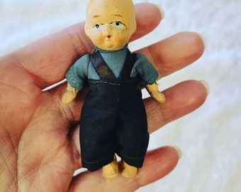 """Small 1930s Jointed Composition Baby Doll 3"""" ~ Mint Condition!"""