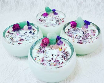 Spring Celebration Manifestation Ritual Candle ~ Hand Poured Soy Wax Spellcast ~ Charged Crystals & Fresh Herbs ~ Smells YUMMY