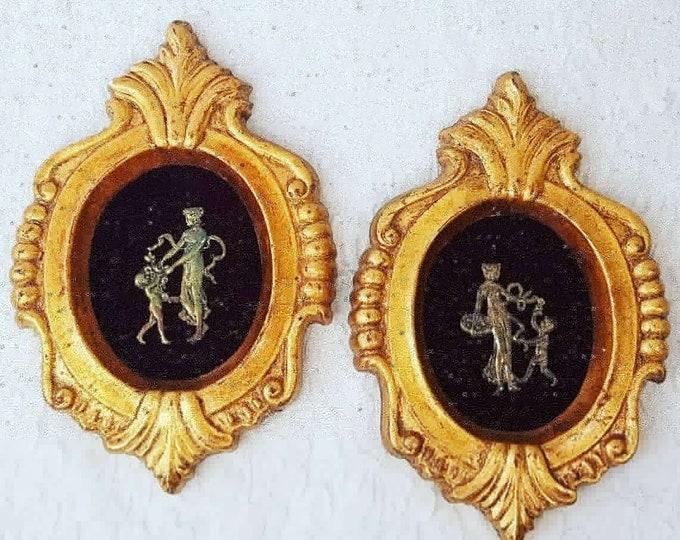"""Vintage Gold Framed Set of 2 Edwardian Scenes ~ Chalkware Ornate Frames ~ Made in USA ~ Hollywood Regency ~ 8.5"""" by 6"""""""