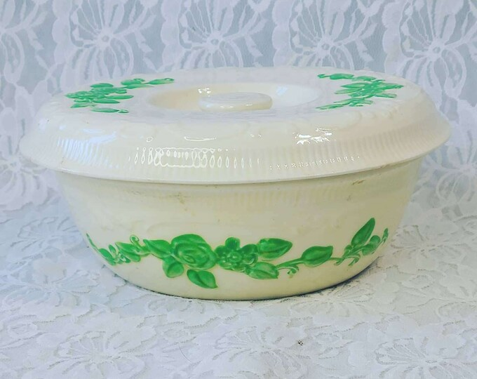 Vintage Homer Laughlin Oven Serve Ivory Covered Casserole Baker Bowl Dish w/lid ~ Green Leaf ~ Beige