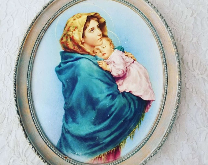 Beautiful 1950s Oval Framed Jesus and Mary Portrait ~ Made in Italy ~ Blue Frame ~ No Glass ~ Amazing Colors