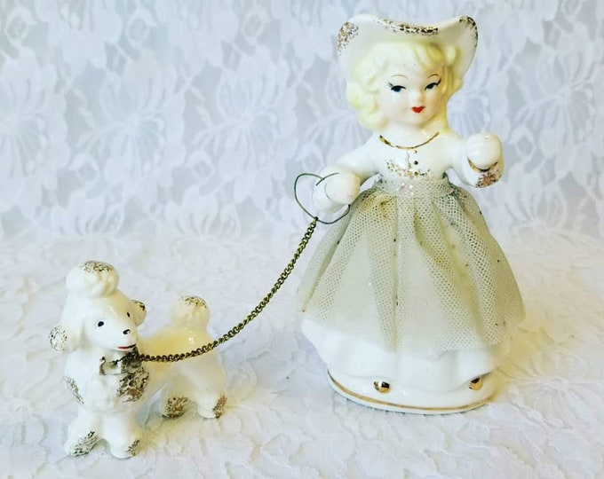 """Vintage 1950s Girl with Poodle on Leash Figurine ~ 5.5"""" ~ Consco? Napco? Norcrest? Lefton? ~ Made in Japan"""