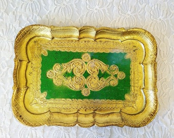 Unique Florentine Trinket Tray ~ Gold Gilt ~ Marked Made in Italy Florentine ~ Hollywood Regency Decor