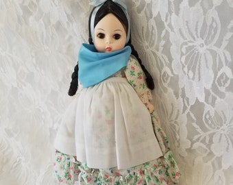 """Vintage Madame Alexander Doll 8"""" Argentia Blue Scarf and Apron ~ Straight Leg ~ NO Box or Hang Tag"""