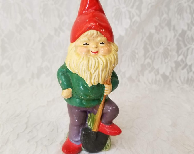 """TRUE VINTAGE Chalkware 6"""" Garden Gnome Elf ~ RB Japan ~ Hand Painted Retro from the 1950s"""