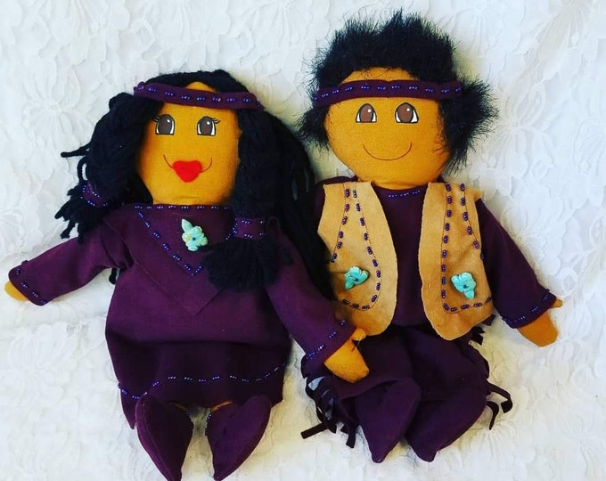 "Set of Two (2) Native American Indian Cloth Dolls ~ 12"" Navajo Dolls ~ Real Turquoise Accents ~ Souvenir Dolls"