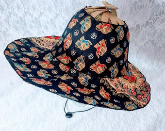 Vintage 1960's Zen Folding Bamboo Fan Hat ~ Elephant Print ~ Hand FAN and SUNHAT ~ Great Condition No Tag