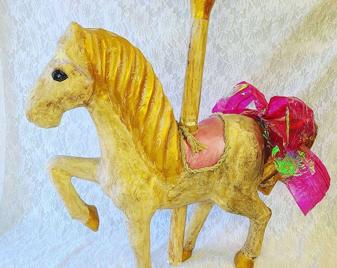 "HUGE Vintage Paper Mache Carousel Horse ~ Home Decor ~ Gold and Pink ~ Girl's Room Decor ~ 23"" by 22"" by 7"""