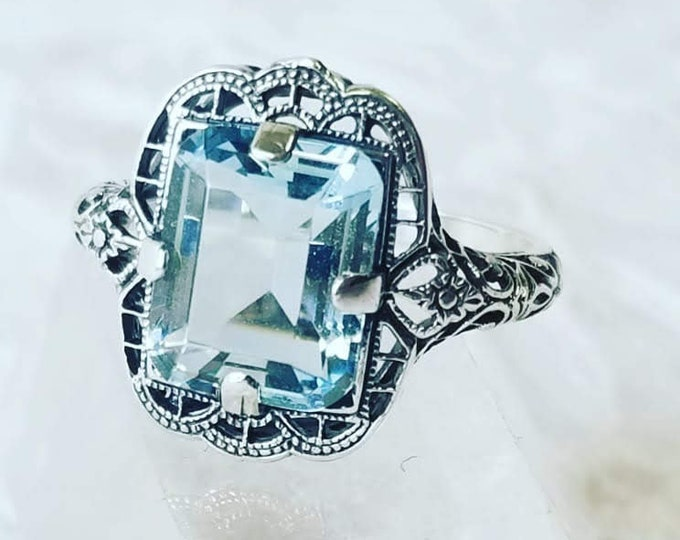 Victorian Filigree 3CT Aquamarine 925 Solid Sterling Silver Art Deco Style Ring ~ Size 6 ~ Stone of Courage and Protection